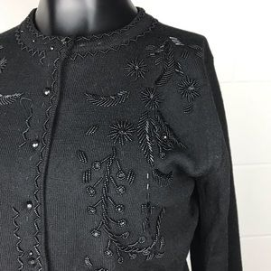 The Limited black beaded cardigan sweater